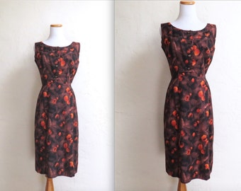 Vintage Late 50s 60s Mad Men Fall Colors Orange & Brown Floral Dress