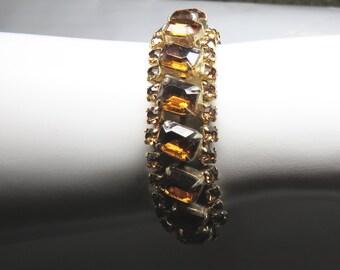 Vintage 50s 60s Rootbeer Brown Rhinestone Bracelet