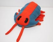 Extinct Trilobite Fossil Plush in Blue and Orange