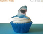 CHRISTMAS in JULY SALE Shark Week - 12 Edible Sharks - Shark Cupcakes, Boys Birthday, Birthday Cake Decorating Supply