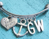best friend gift bff gift, bff bracelet anchor, personalized sister gift, friend gift friendship bracelet, best friend bff jewelry, anchor