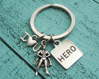 hero keychain dad gift, for son, fathers day gift I love you, gift for men, dad gift from daughter son, husband gift, for dad boyfriend