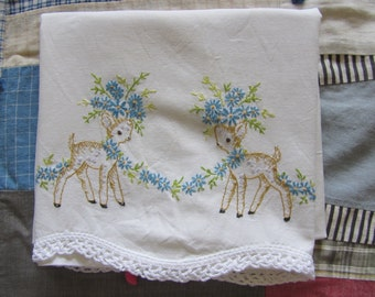 Vintage Childs Pillowcase Deer Floral Garland Embroidery White Cotton AS IS