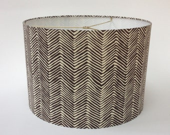 "Quadrille Petite Zig Zag Drum Lampshade 16"" Diameter X 11"" Tall - Ready to Ship"