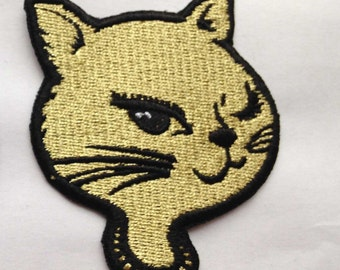 Metallic Gold Winking Kitty Patch