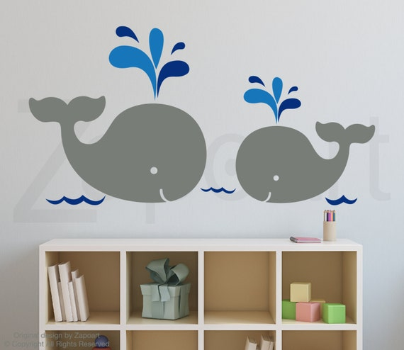 Mom and Baby Whales Wall Decal