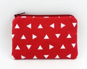 SALE - Red Triangles Coin Purse, Mini Zipper Pouch, Zipper Wallet, Card Pouch, Gift idea, Padded