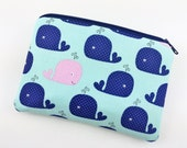 Whales Coin Purse - Whale Zipper Pouch - Small Blue Pouch - Card Wallet - Change Purse - Gift ideas - Padded Pouch