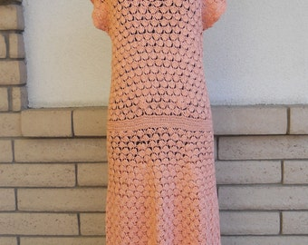 Vintage 60s 70s Crocheted Dress . Peach Maxi Dress . Sheer Open Weave Dress XS-S