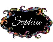 ON SALE 20% OFF Floral Name Sign Wall Decal - Colorful Flower Pattern Sticker - Floral Swirl