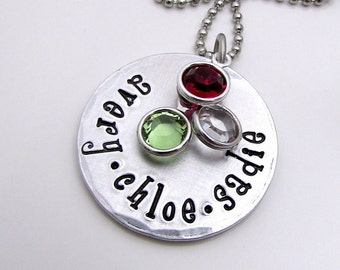 Personalized Jewelry for Mom - Hand Stamped Necklace - Personalized Birthstone Necklace  - Mom Necklace - Personalized Necklace for Mom