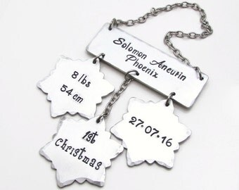 Baby's First Christmas Ornament - Personalized Snowflake Ornament - Christmas Ornament - 1st Christmas Ornament - Personalized Ornament