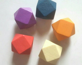 Wooden Geometric Polyhedron Faceted Bead x5 - Sunset Brights, Navy Blue, Red, Orange, Purple & Cream Mix - Medium 20mm