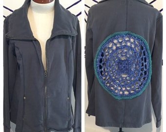Blue zip-up jacket with crocheted manadala  ~ size Extra Large