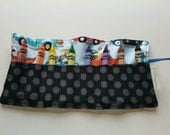 JUMBO TODDLER Crayon Roll, Driving Dogs with Black Ta Dot,  Holds 8 Jumbo Toddler Crayons, Ready to Ship