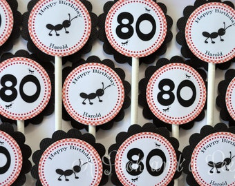 Red and Black Gingham Picnic Ants Birthday or Shower Cupcake Toppers - Set of 12