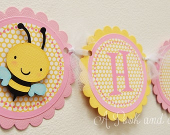 Pink and Yellow Bee Themed Personalized Happy Birthday or Shower Banner