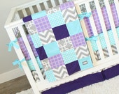RESERVED for Leah - 2 x Purple and Aqua Baby Bedding