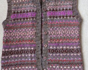 Hand knitted fairisle waistcoat Shetland sleeveless cardigan beautiful colours M