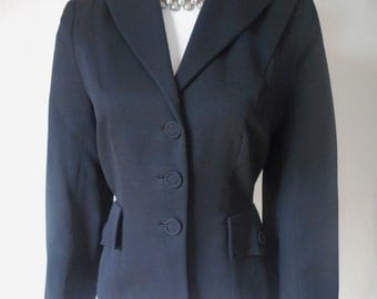 DISTINCTIVE vintage 40's 50s tailored worsted wool black jacket blazer M