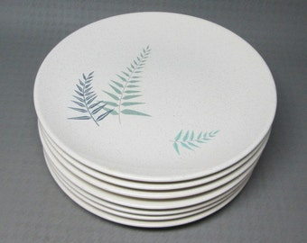 Franciscan pottery Fern Dell salad / luncheon plates , set of 7