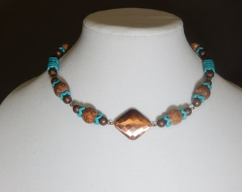 Turquoise and Brown Necklace