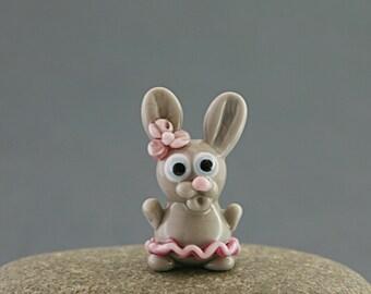 Bunny Hare Rabbit miniature sculpture figurine bead Easter / fairy garden supply kit terrarium accessory glass lampwork tiny animal pet