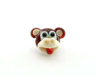 Monkey button artisan   bead glass lampwork brown  ivory / sculpture / miniature / figurine