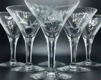 Six martini glasses