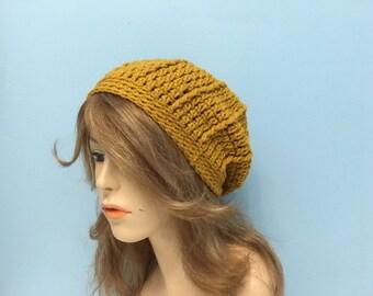 Crochet Slouchy Beanie Hat with Matching Pom Pom - GOLD