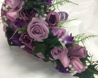 Real touch rose teardrop bouquet