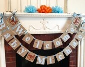Woodland Baby shower Decoration - Little Fox baby shower decor - light blue Forest baby shower  - Welcome baby banner- your color choice