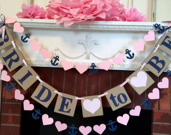 Bridal Shower Decorations - Pink and Navy Bride To Be Banner - Bachelorette  Party decor - CUSTOMIZE YOUR COLORS