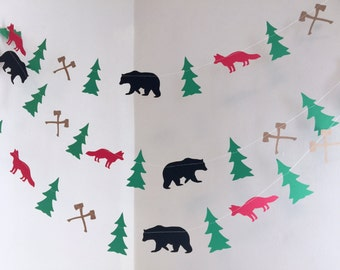 Lumberjack Birthday Decorations - 1st 2nd 3rd 6th Woodland Forest birthday banner - Little Lumberjack Birthday Garland - you Pick the Colors