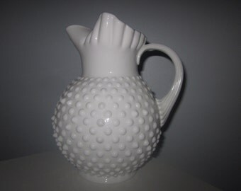 Fenton hobnail Vintage Milk Glass Hobnail Water Juice Pitcher ice lip jug crimped top Jug charming glass,Shabby Chic,tabletop,home decor