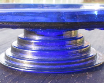 repurposed Cobalt Blue Cake stand/dessert stand/tid bit plate stand,charming glass,retro Chic,tabletop