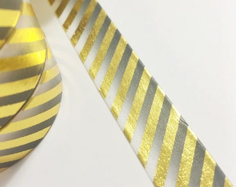 SALE Bright Shiny Metallic Gold Foil Stripes on Black Ombre Washi Tape 11 yards 10 meters 15mm