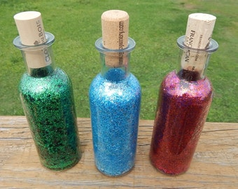 Wine style glitter potion bottles for LARP Roleplaying tabletop fantasy decor accessory costume potions