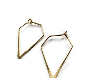 Triangle Brass Hoop Earrings