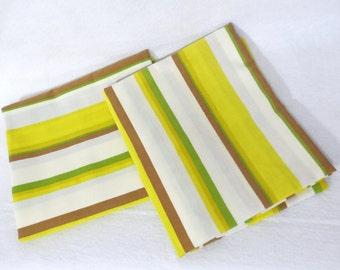 Pillowcases, Pair (2) of vintage sheet pillowcases - yellow white brown green stripes