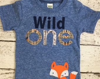 Wild one birthday shirt First birthday shirt Wild 1 organic shirt  boys girl birthday tee custom shirt woodland animal forest party