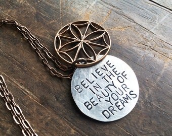 custom hand stamped necklace, inspirational jewelry, pendant, secret message, believe in the beauty of your dreams, stained glass window