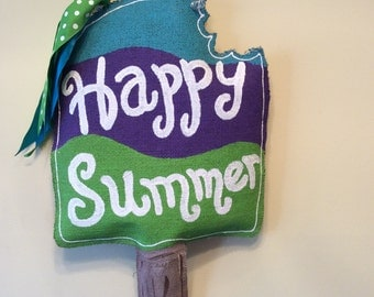 Popsicle Burlap Door Hanger