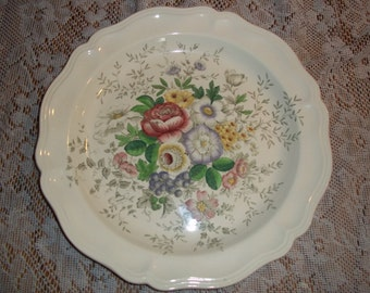 """Royal Doulton Malvern large round platter serving plate 14.5"""" D6197 made in England Roses"""