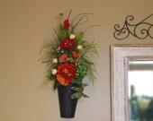ON SALE 30% OFF Artichoke Floral Arrangement Artichoke Wall Sconce Poppy Silk Floral Arrangement Floral Metal Wall Hang Sconce Artichoke Hom
