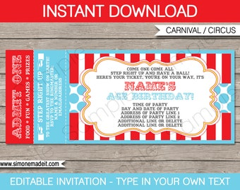 Circus Ticket Invitation Template - Carnival Party - Circus Party - INSTANT DOWNLOAD with EDITABLE text - you personalize at home