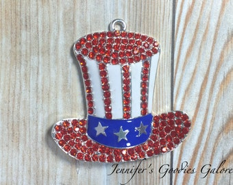 45mm, Patriotic Rhinestone Pendant, Uncle Sam Hat, Red White & Blue, 4th of July Pendant, Chunky Necklace, July 4th Necklace