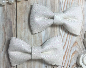 """WHITE Glitter Bows, 3"""" Glitter Bow, Bow Appliqué, DIY Bows, Shiny Bows, Wholesale Bows, DIY Headband Supply, No Clips Attached"""
