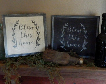 PriMiTiVe -  BLeSs ThiS Home - HandpaINtEd WooDen SiGn - AwesOme - SimPLe EarLy LoOk...You Choose Color!!!