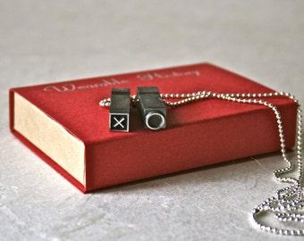 Letterpress Type Vintage Pendant XO for Unisex Jewelry